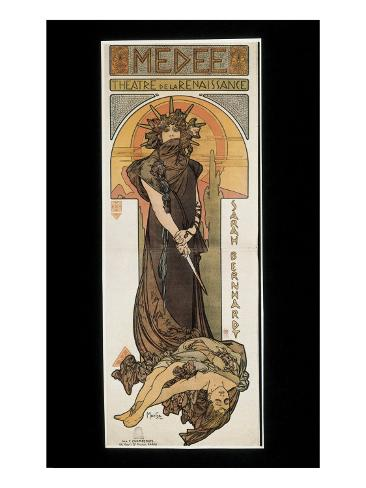 Sarah Bernhardt as Medee at the Theatre De La Renaissance Art Print
