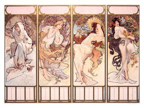 Seasons, Winter Panel, 1897 Giclee Print