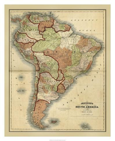 Antique Map of South America Giclee Print by Alvin Johnson at ...