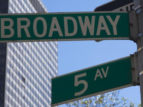 Broadway and 5th Avenue Street Signs, Manhattan, New York City, New York, USA Photographic Print