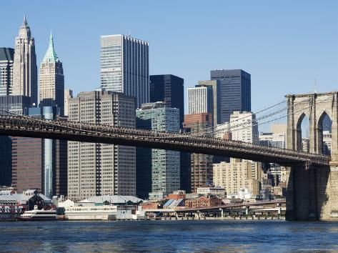 Brooklyn Bridge and Manhattan Skyline, New York City, New York, USA Photographic Print