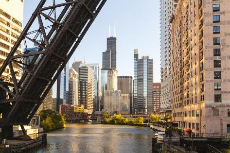 Chicago River and Towers of the West Loop Area,Willis Tower, Chicago, Illinois, USA Photographic Print