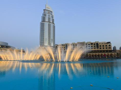 Downtown District With the Dubai Fountain, Address Building and Palace Hotel, Dubai, Uae Photographic Print