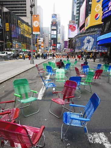 Garden Chairs in the Road for the Public to Sit and Relax in the Pedestrian Zone, Times Square Photographic Print