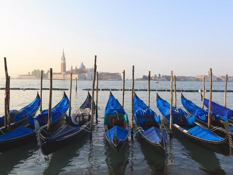 Gondolas on the Lagoon, San Giorgio Maggiore in the Distance, Venice, Veneto, Italy Photographic Print