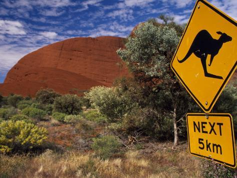 Alice Springs, Traffic Sign Beside Road Through Outback, Red Rocks of Olgas Behind, Australia Photographic Print