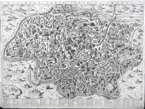 Antiquae Urbis Perfecta Imago, Map of Rome, C.1600 Giclee Print