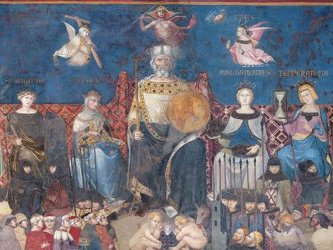 Detail of the Allegory of Good Government, 1338-40 Lámina giclée