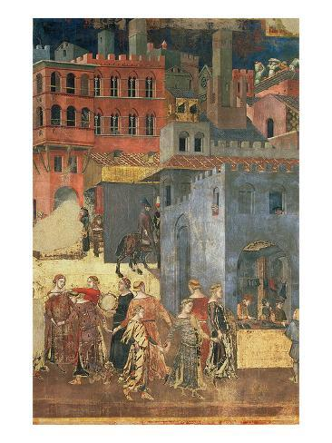 Good Government in the City,1338-40 (Detail of 57868) (Fresco) Giclee Print