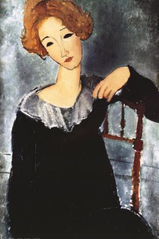 Mujer de pelo rojo Lámina