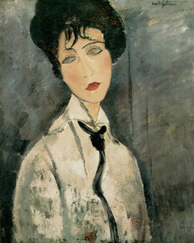 Woman in Black Tie, 1917 Reproducción de lámina sobre lienzo