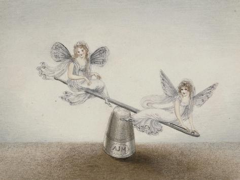 Two Fairies Playing See-Saw on a Needle Resting on a Thimble Giclee Print