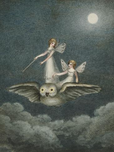 Two Fairies Standing on the Back of an Owl Beneath a Moon Giclee Print