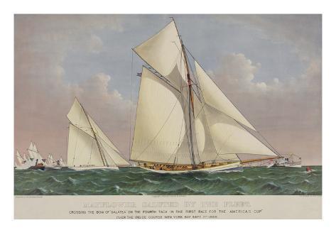 America's Cup Yacht Race 1886 Art Print