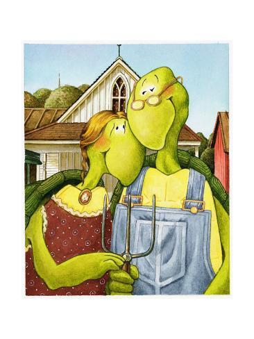 American Gothic Turtle Art Print