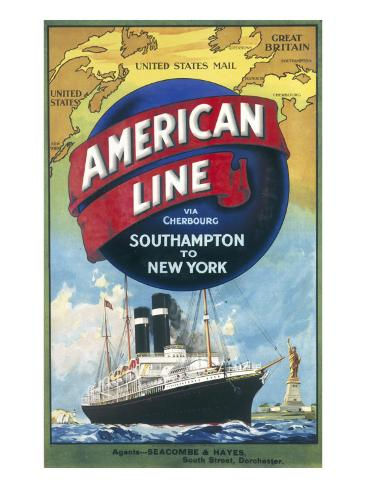 American Line Poster Advertising Cruises from Southampton to New York Giclee Print