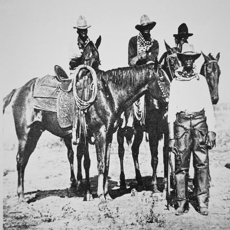Black Cowboys at Bonham, Texas, C.1890 (B/W Photo) Giclee Print