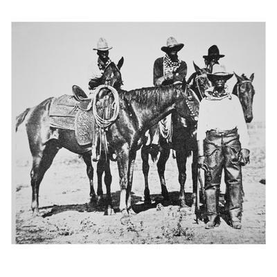Black Cowboys At Bonham Texas C 1890 B W Photo Giclee