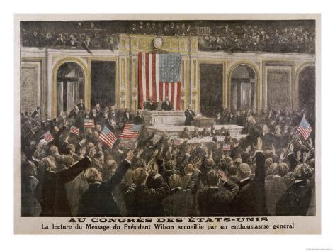 American President Woodrow Wilson Asks Congress to Declare War Giclee Print