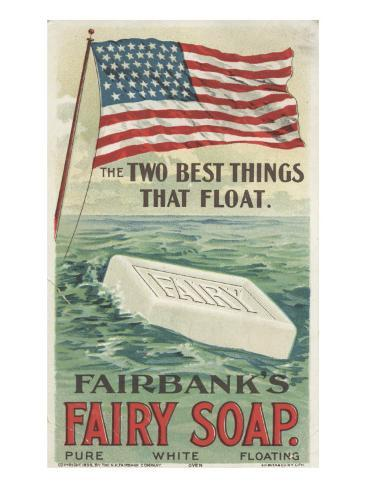 The Two Best Things That Float', Advertisement for Fairbank's Floating Fairy Soap, 1898 Giclee Print