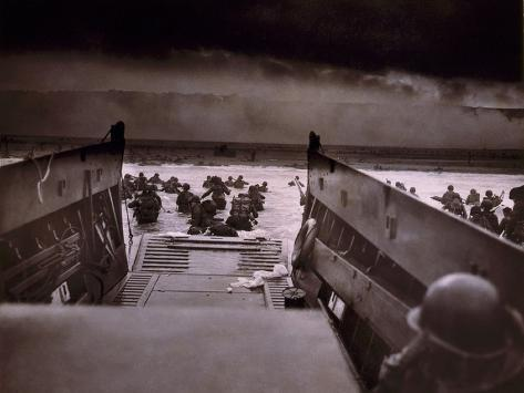 American Soldiers Wade from Landing Craft to the Omaha Beach, D-Day, June 6, 1944 Photo
