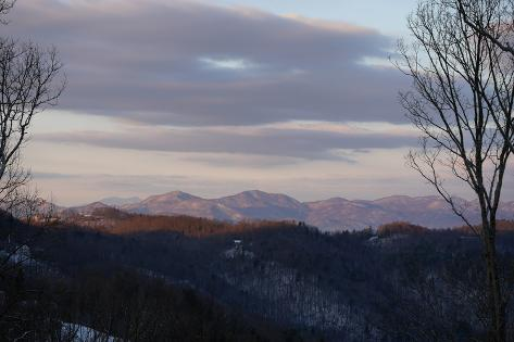 Early Morning View of Sunlight Kissing the Tops of the Blue Ridge Mountains Photographic Print