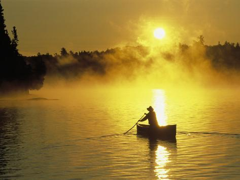 Silhouetted Canoeist, Boundary Waters, MN Photographic Print