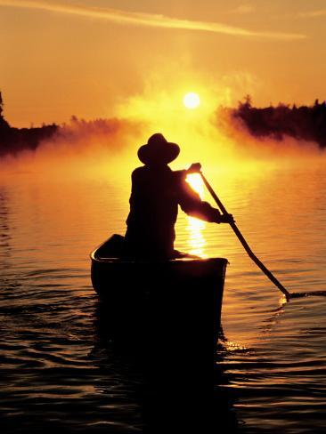 Sunrise Canoeing, Boundary Waters Canoe Area, MN Photographic Print