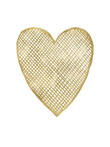 Heart Crosshatched Golden White Art Print