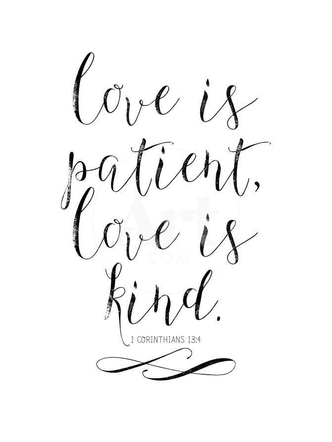 love is patient love is kind chalkboard 01 giclee print by amy