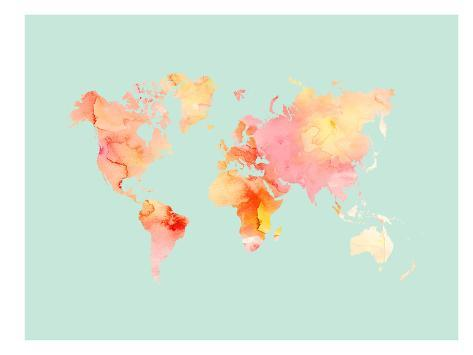 world map pastel watercolor prints by amy brinkman at allposters com