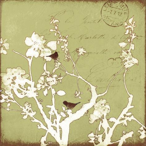 Song Birds II - Green Premium Giclee Print