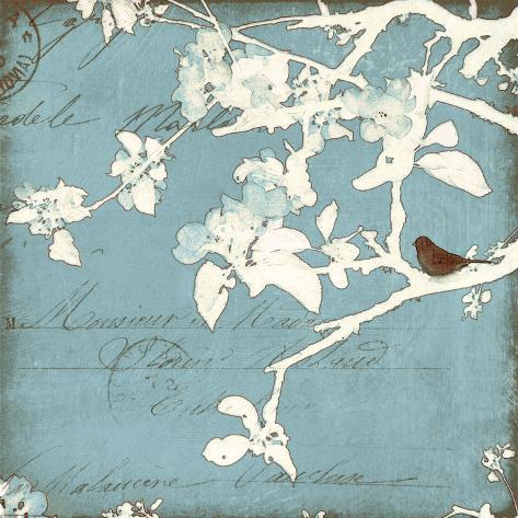 Song Birds III - Blue Premium Giclee Print