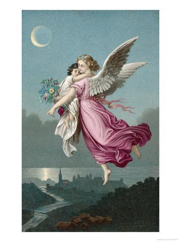 An Angel Flies Through the Night Sky Carrying a Child Lámina giclée