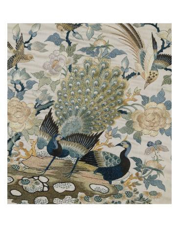 An Embroidered Roundel of Cream Satin, with a Pair of Peacocks and Other Birds Among Flowers Giclee Print