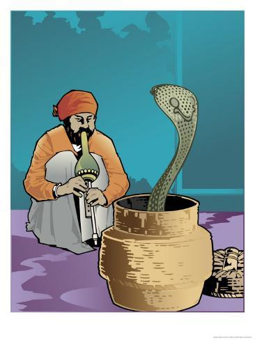 An Indian Snake Charmer and a Cobra Art Print