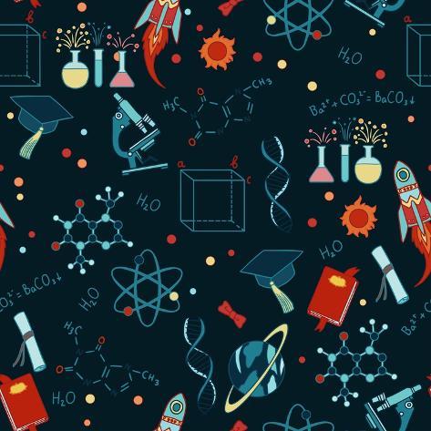 Science Stuff Vector Seamless Pattern. Art Print