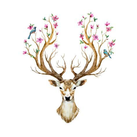 watercolor illustration isolated deer big antlers flowers and