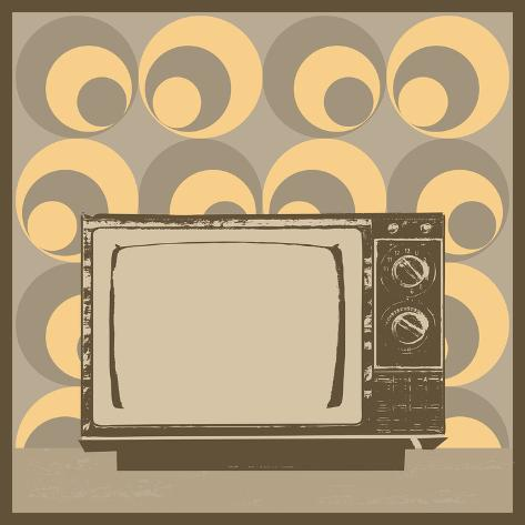 Vintage Television Illustration With Retro Wallpaper