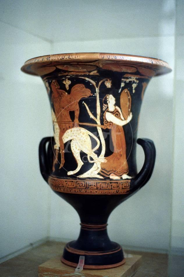 Ancient Greek Vase With Red Figure Decoration Including A Female