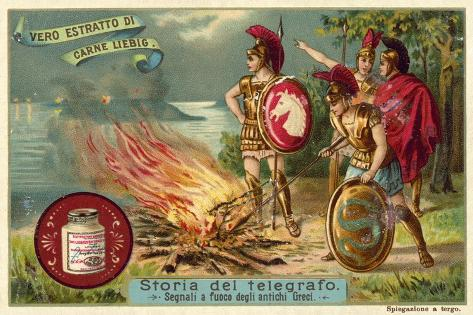 Ancient Greeks Signalling by Fire Stampa giclée