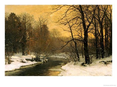 A Winter River Landscape Giclee Print