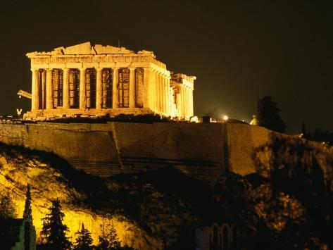 Acropolis at Night Seen from Filopappou Hill, Athens, Attica, Greece Photographic Print