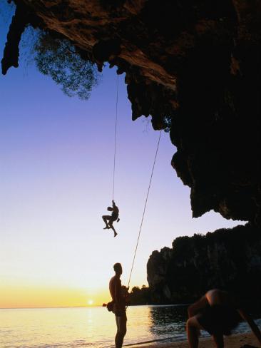 Climbers on Ton Sai Cliff, Krabi, Thailand Photographic Print