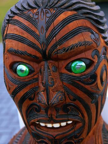 Muruika, a Modern Maori Carving with Glowing Green Eyes, Rotorua, New Zealand Photographic Print
