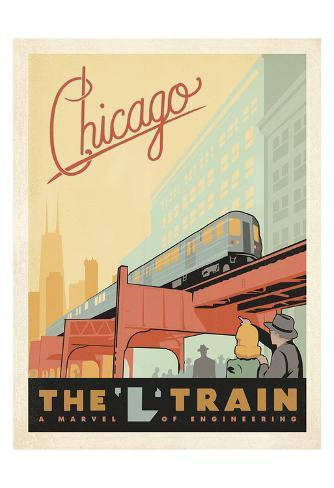 Chicago: The 'L' Train Art Print