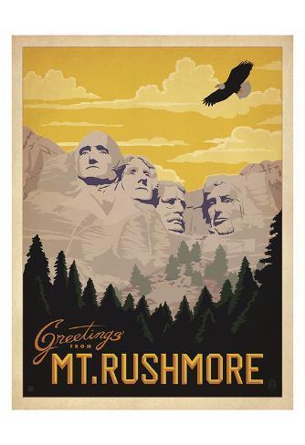 Greetings from Mt. Rushmore Art Print