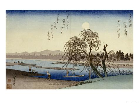 Autumn Moon Over Tama River Giclee Print