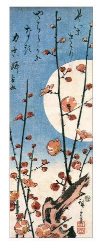 Blossoming Plum Tree with Full Moon Giclee Print