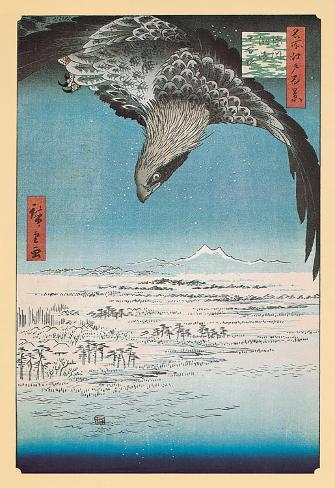 Eagle Flying over the Fukagama District Art Print